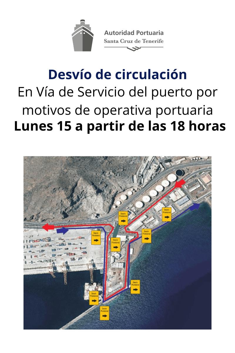 Aviso de desvío por operativa portuaria
