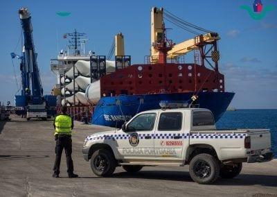 policía Portuaria en atraque en Granadilla