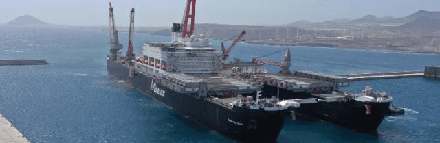 Atracado en la dársena de Granadilla el mayor buque del mundo en volumen